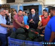 وزارة الزراعة تفتتح موسم البطيخ وتتفقد المزارعين شمال قطاع غزة/تصوير مدحت حجاج