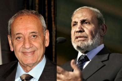""""""" الزهار"""" يهاتف رئيس البرلمان اللبناني ويعبر عن تضامن فلسطين مع لبنان"""
