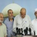 النائب النجار خلال مؤتمر صحفي عقده بمناسبة الذكرى الثامنة والأربعين لإحراق المسجد الأقصى المبارك