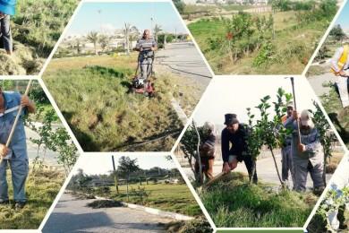بلدية خان يونس تشرع بتعشيب وتجميل حديقة حي الأمل