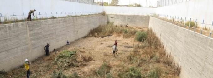 خان يونس: تنظيف بركة تصريف مياه الأمطار في المخيم الجنوبي