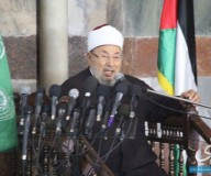 خطبة الشيخ القرضاوي في المسجد العمري بغزة/ تصوير علاء السراج