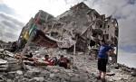 المنازل المدمرة في قطاع غزة