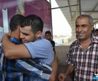 وصول المحرر عبد الكريم أبو حبل لغزة/ تصوير: عبد الحكيم أبو رياش