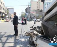 السيارات المحطمة على المفترقات .. إشعاراتٌ قبل الأكفان والنعوش. تصوير/ علاء السراج