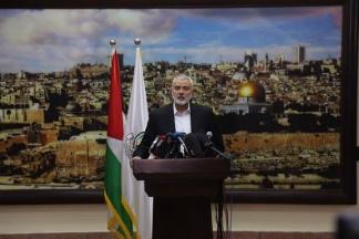 مؤتمر صحفي لرئيس حركة المقاومة الإسلامية حماس إسماعيل هنية بعد إعلان ترامب القدس عاصمة للكيان