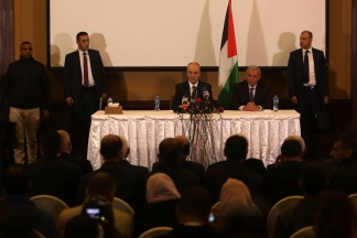 المؤتمر الصحفي لرئيس الحكومة الفلسطينية رامي الحمد الله بعد وصوله إلى قطاع غزة تصوير: عطية درويش